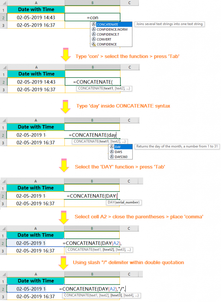 Using the CONCATENATE() Function-Extract Date from Timestamp_1