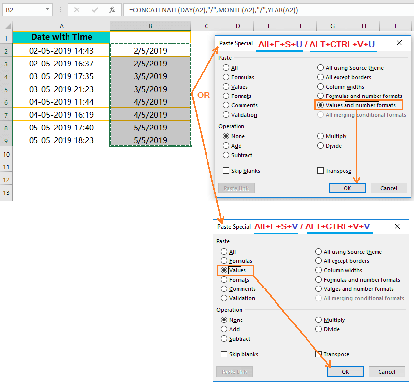 Using the CONCATENATE() Function-Extract Date from Timestamp_3