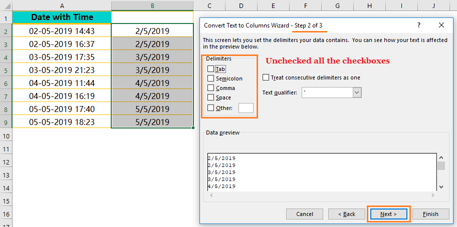 Using the CONCATENATE() Function-Extract Date from Timestamp_5