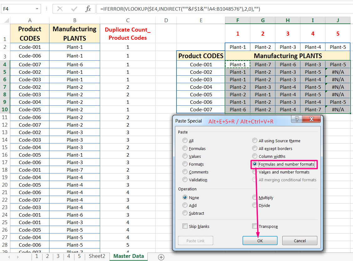 Transpose Data in Excel_A combined Process for Transpose Columns to Rows in Excel_Again Extending the Formula into the Entire Ranges_1