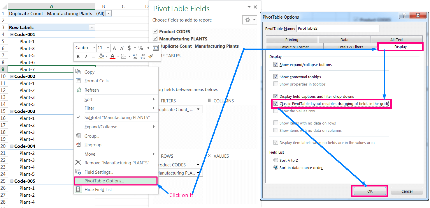 Transpose Data in Excel_A combined Process for Transpose Columns to Rows in Excel_Changing Layout to Classic PivotTable Layout_1