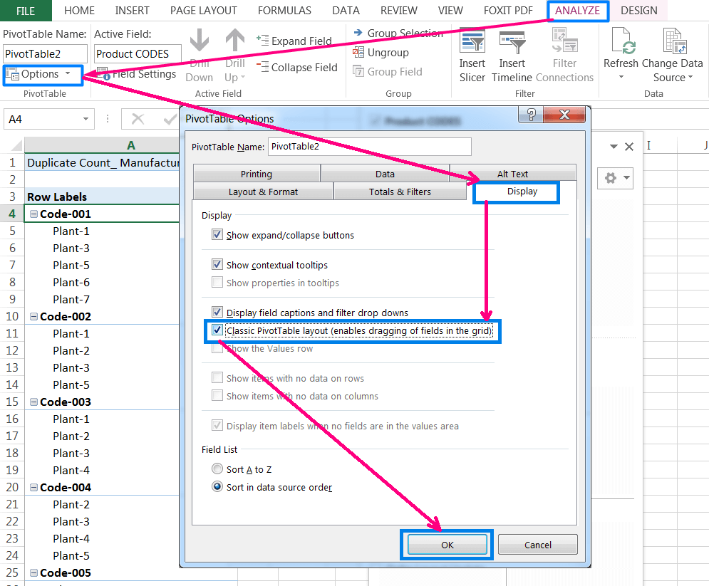 Transpose Data in Excel_A combined Process for Transpose Columns to Rows in Excel_Changing Layout to Classic PivotTable Layout_2