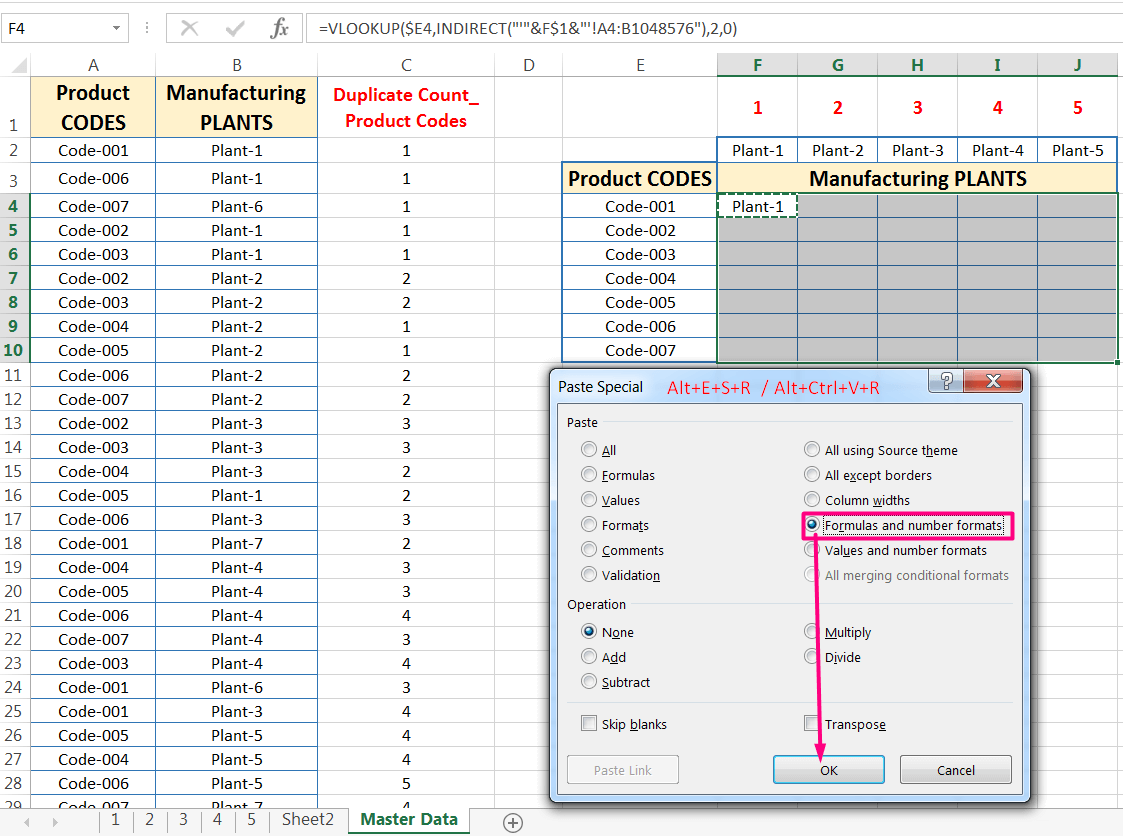 Transpose Data in Excel_A combined Process for Transpose Columns to Rows in Excel_Extending the Formula into the Entire Ranges