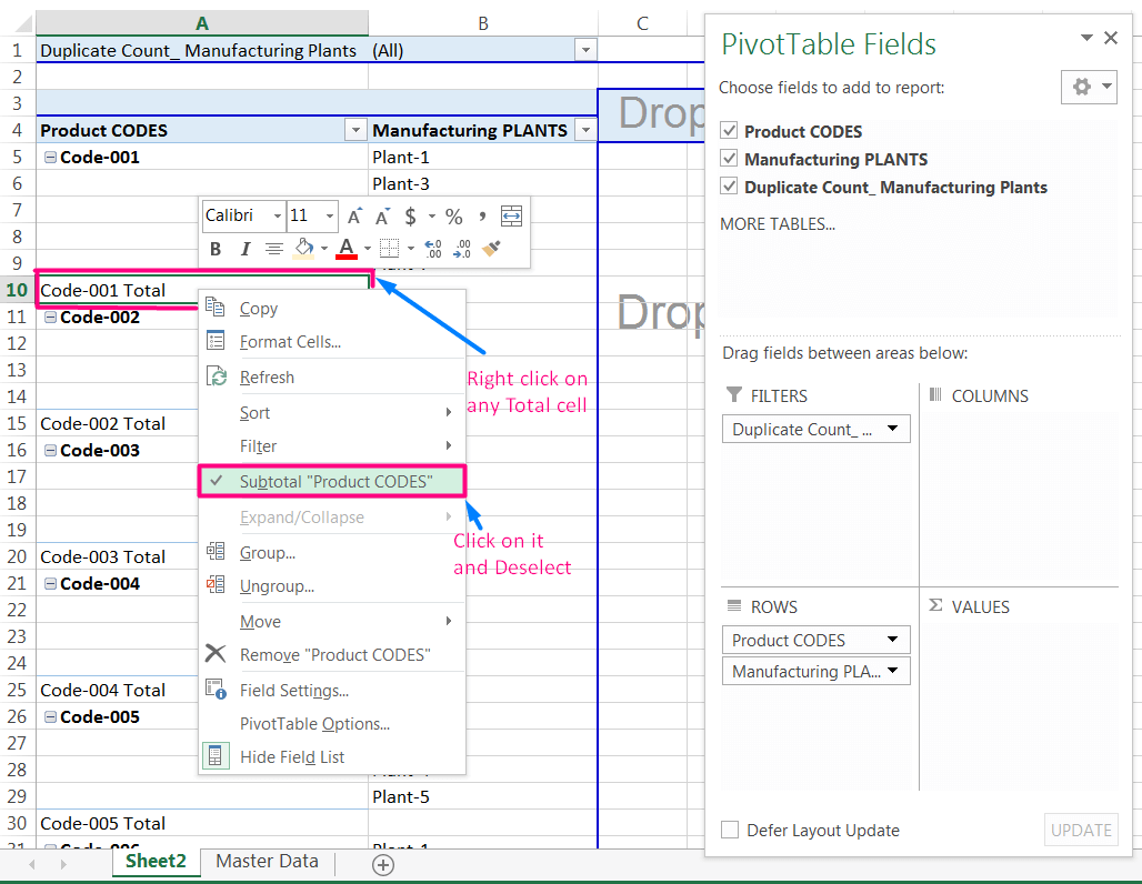 Transpose Data in Excel_A combined Process for Transpose Columns to Rows in Excel_Removing Subtotals_1
