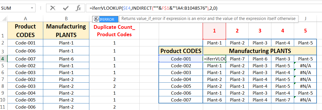 Transpose Data in Excel_A combined Process for Transpose Columns to Rows in Excel_Replacing Errors with the IFERROR function_1