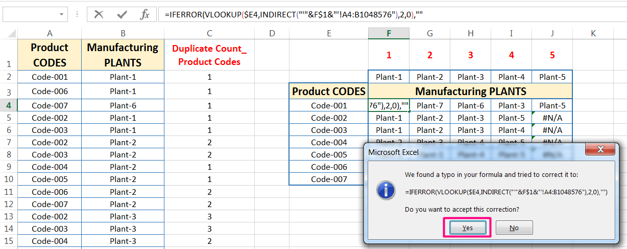 Transpose Data in Excel_A combined Process for Transpose Columns to Rows in Excel_Replacing Errors with the IFERROR function_3