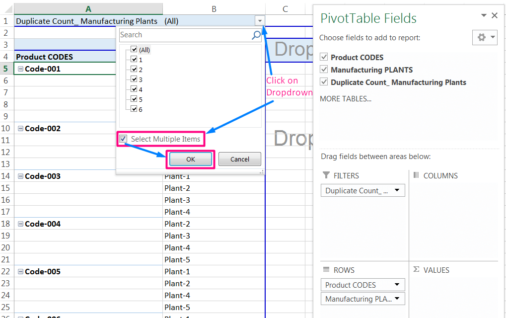 Transpose Data in Excel_A combined Process for Transpose Columns to Rows in Excel_Select Multiple Items from the Table Filter