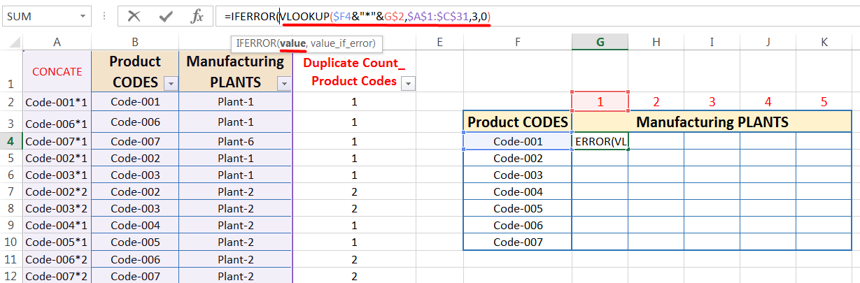 Transpose Data in Excel_Combined Functions for Transpose Columns to Rows in Excel (Using COUNTIFS, CONCATENATE, VLOOKUP, and IFERROR)_13