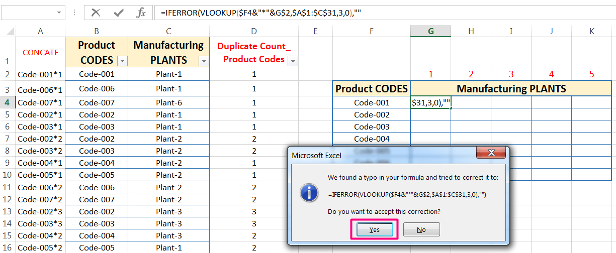 Transpose Data in Excel_Combined Functions for Transpose Columns to Rows in Excel (Using COUNTIFS, CONCATENATE, VLOOKUP, and IFERROR)_15