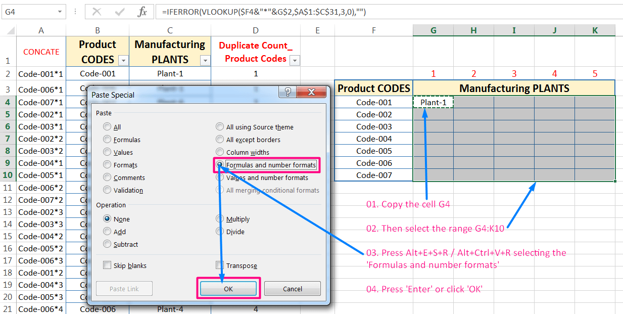 Transpose Data in Excel_Combined Functions for Transpose Columns to Rows in Excel (Using COUNTIFS, CONCATENATE, VLOOKUP, and IFERROR)_16