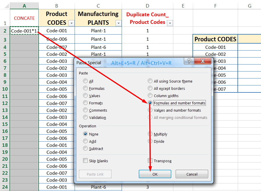 Transpose Data in Excel_Combined Functions for Transpose Columns to Rows in Excel (Using COUNTIFS, CONCATENATE, VLOOKUP, and IFERROR)_5