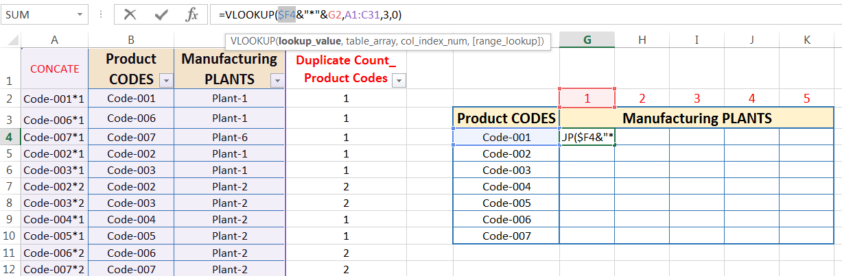 Transpose Data in Excel_Combined Functions for Transpose Columns to Rows in Excel (Using COUNTIFS, CONCATENATE, VLOOKUP, and IFERROR)_9