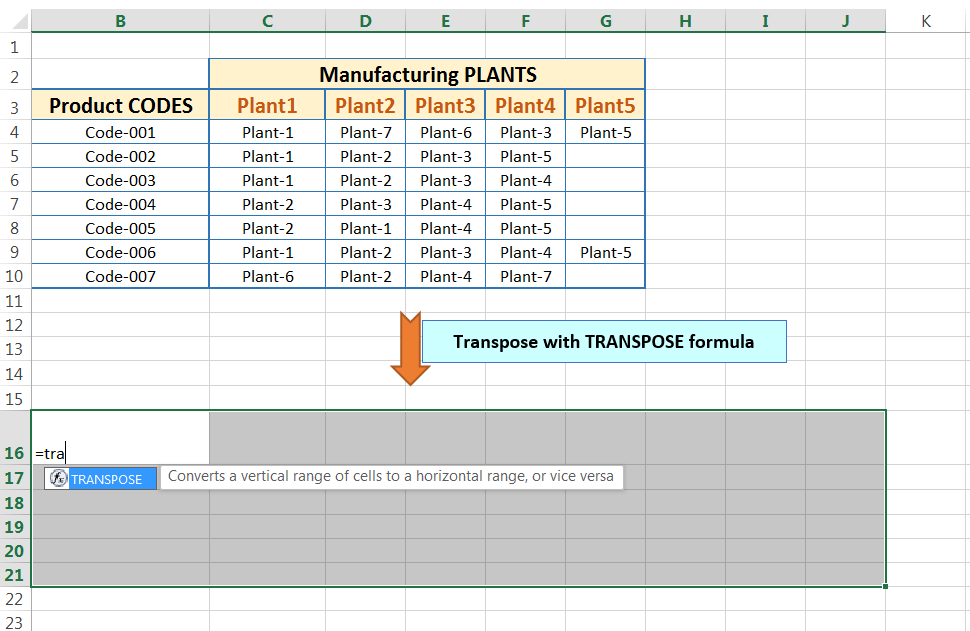 Transpose Data in Excel_Using Excel Transpose Function_1