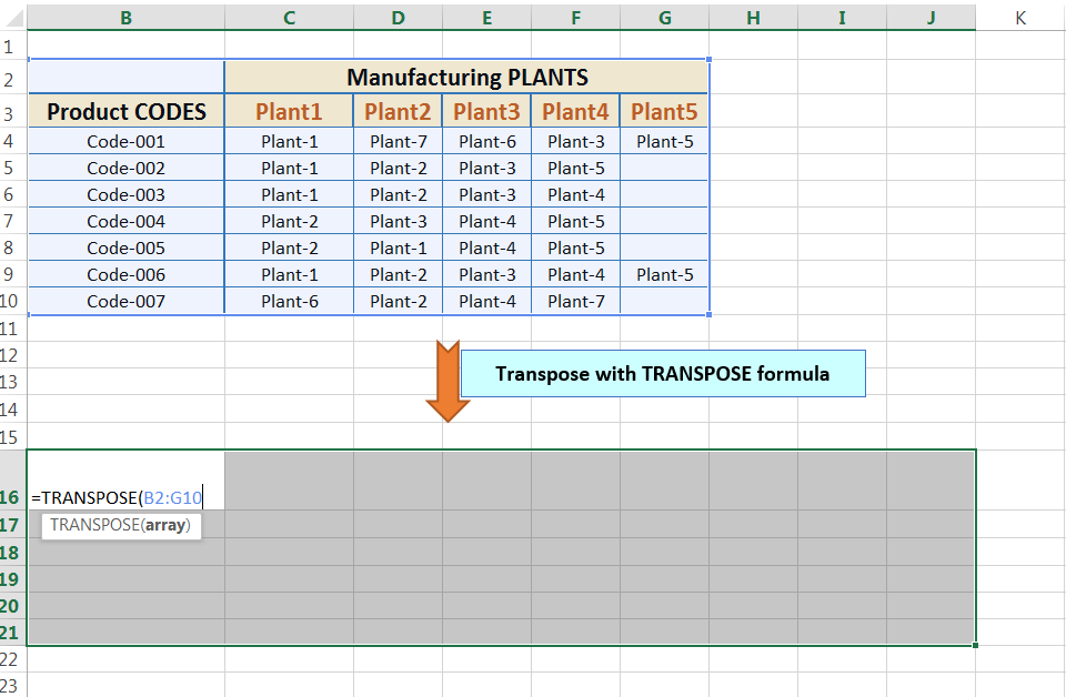 Transpose Data in Excel_Using Excel Transpose Function_2