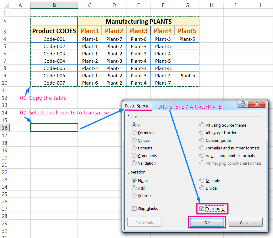 Transpose Data in Excel_with the 'Transpose' Option in the 'Paste Special' dialog box_Using excel Shortcut_1