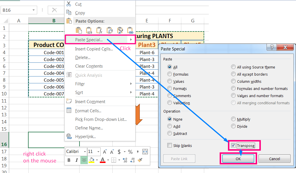Transpose Data in Excel_with the 'Transpose' Option in the 'Paste Special' dialog box_Using right click on the mouse_3