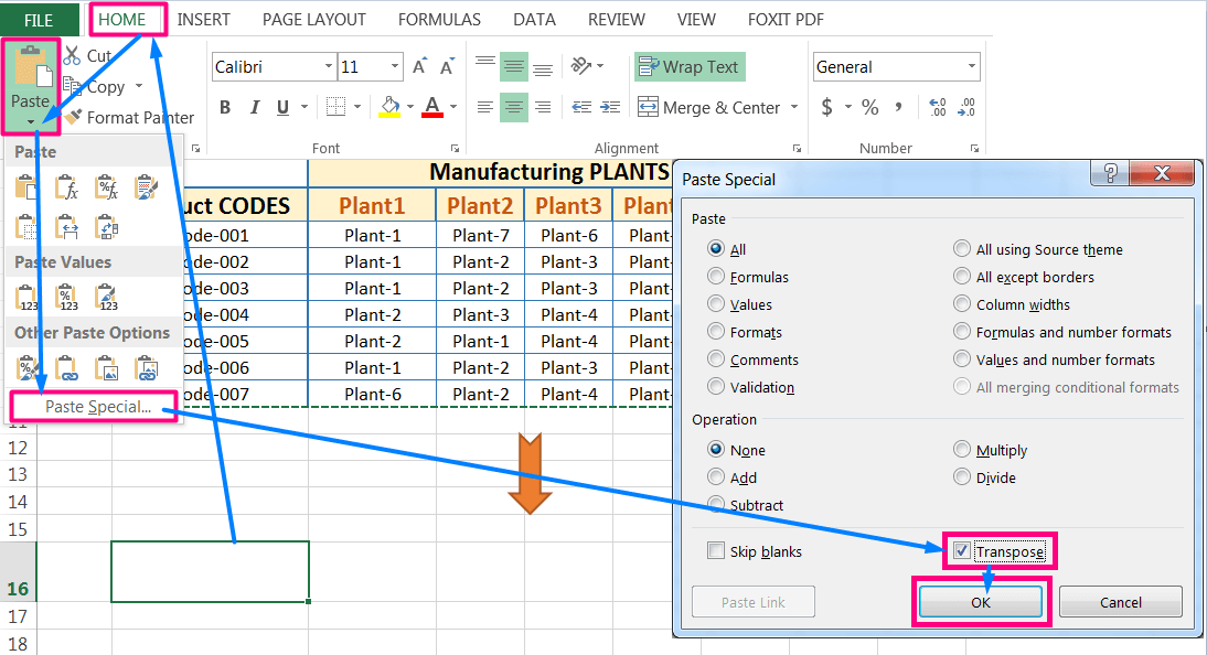 Transpose Data in Excel_with the 'Transpose' Option in the 'Paste Special' dialog box_Using the ribbon_4