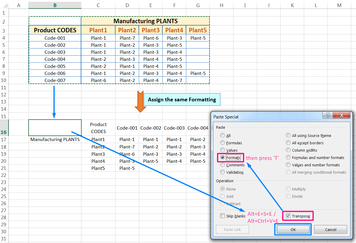 Transpose Data in Excel_with the 'Transpose' Option in the 'Paste Special' dialog box_assign the same formatting_7
