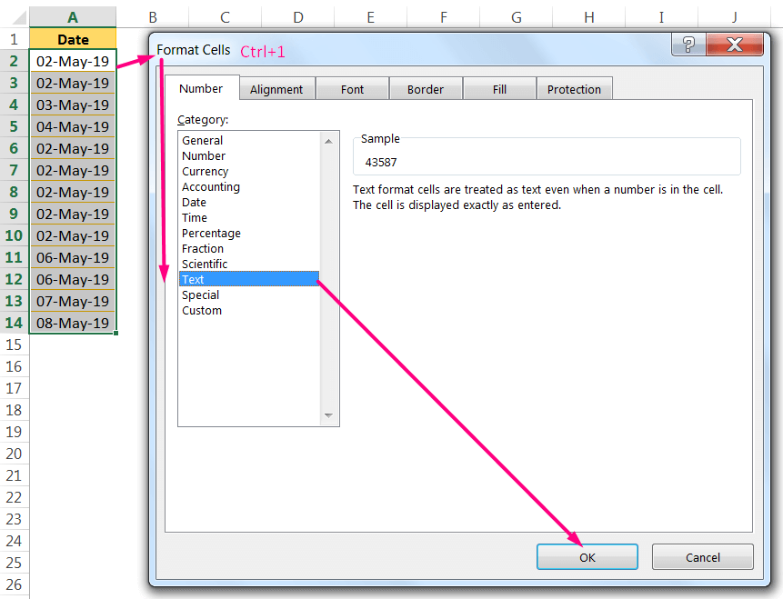 Convert Date to Text in Excel By the 'Format Cells' dialog box using the Excel ShortcutCtrl+1_1