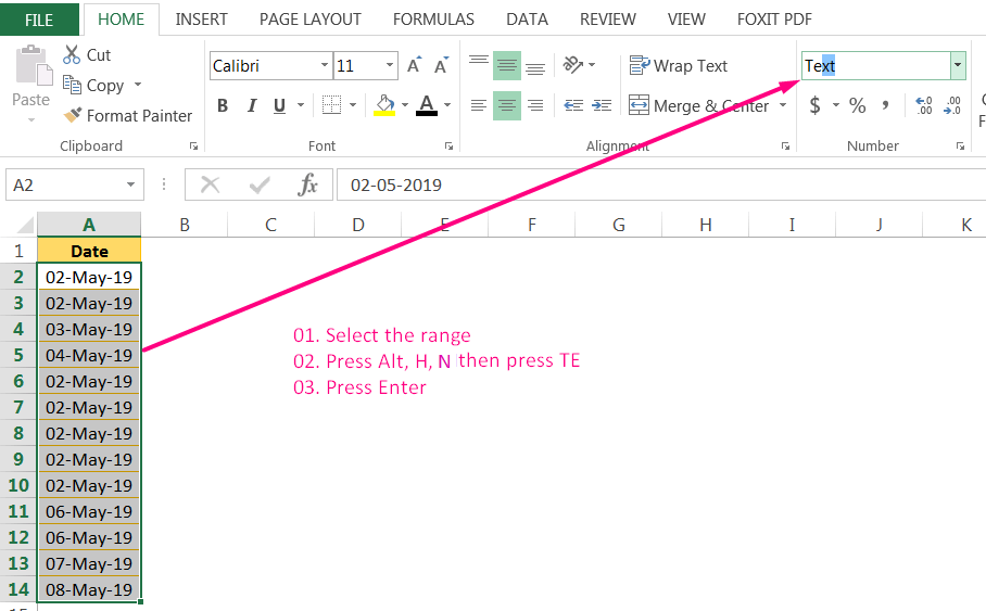 Convert Date to Text in Excel By the 'Format box' in the Ribbon using the Excel Shortcut Alt+H+N_1