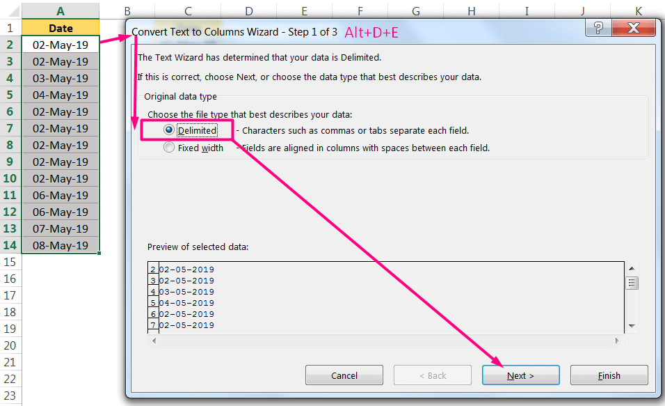 Convert Date to Text in Excel Using the 'Convert Text to Columns' Wizard_1