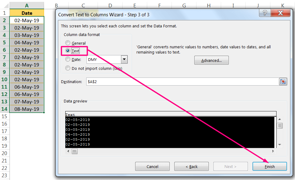 Convert Date to Text in Excel Using the 'Convert Text to Columns' Wizard_3