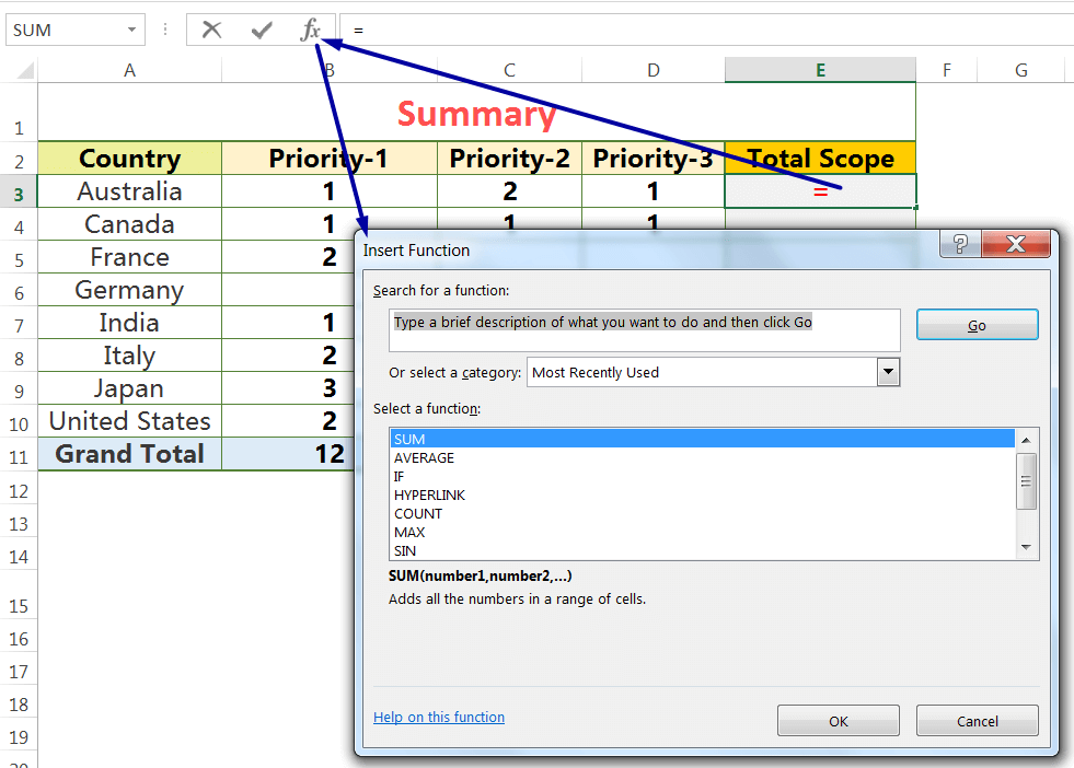 Apply SUM Function With 'Insert Function' button on the Formula Bar