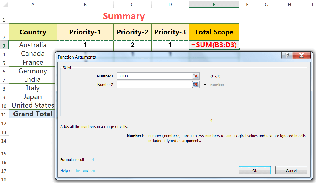 Apply SUM Function With'Insert Function' dialog box_2