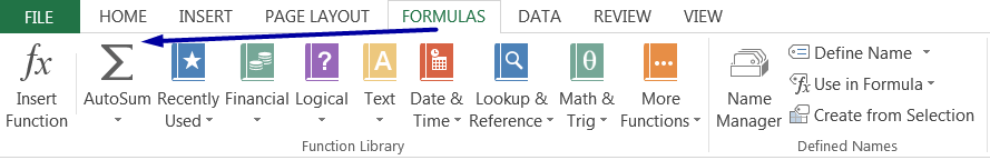 AutoSum Excel by clicking theAutoSum Button on the 'FORMULAS' tab