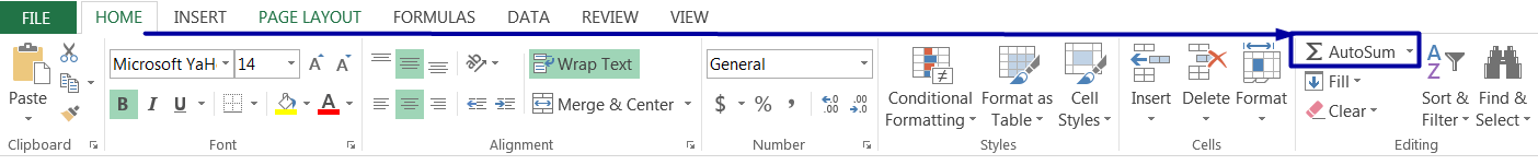 AutoSum Excelby clicking the AutoSum Button on the 'HOME' tab
