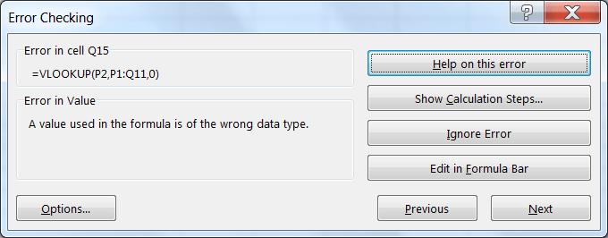 Error Checking dialog box