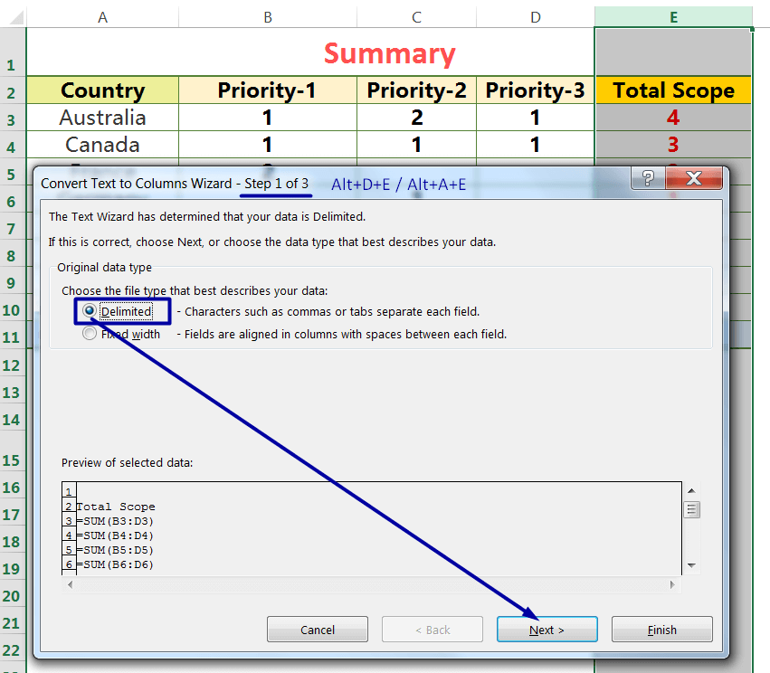 Exact Copy the Formula by the Text to Columns_1