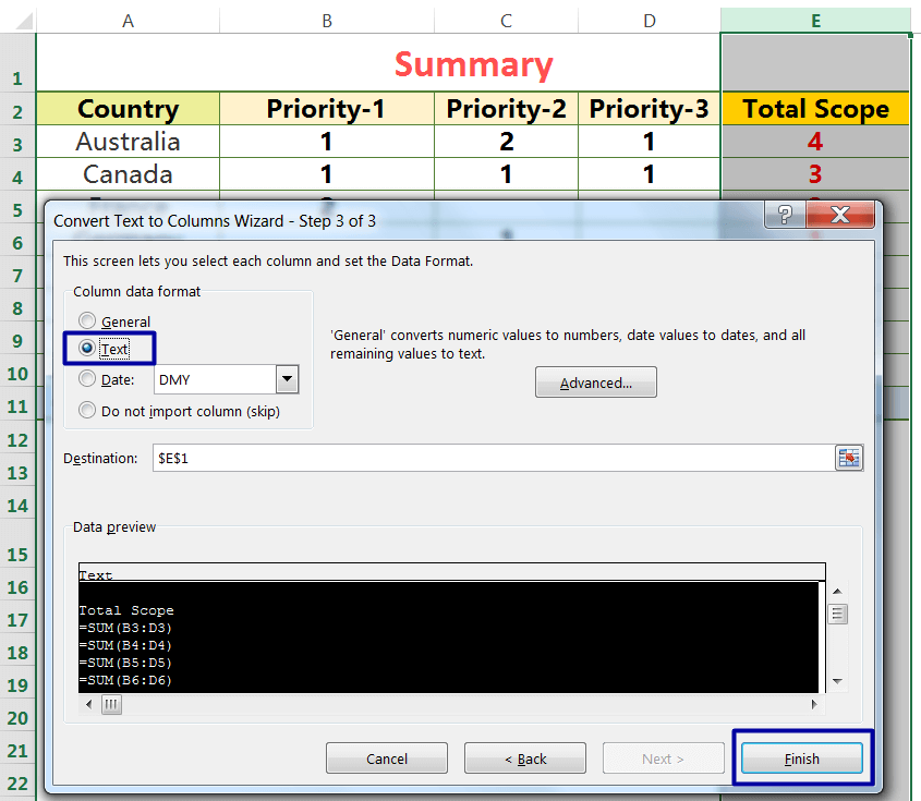 Exact Copy the Formula by the Text to Columns_3