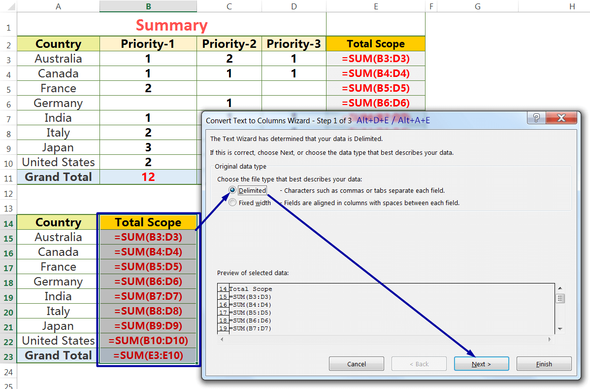 Exact Copy the Formula by the Text to Columns_6