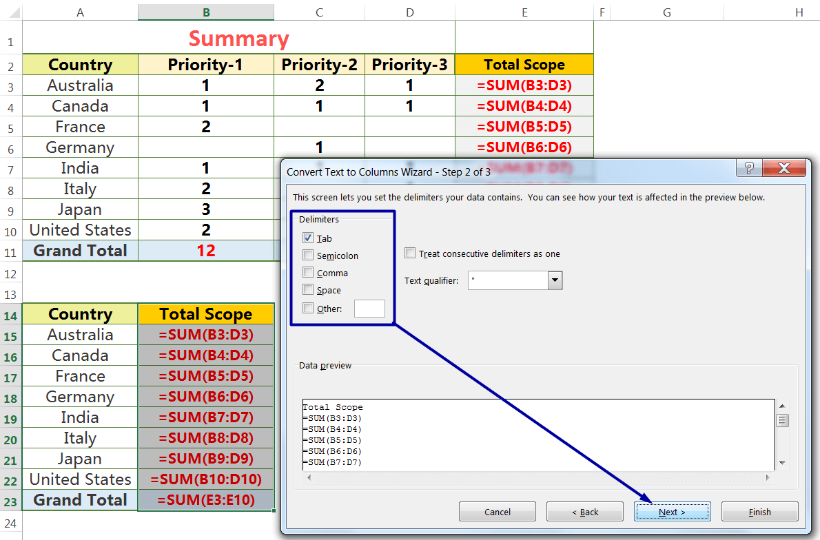 Exact Copy the Formula by the Text to Columns_7