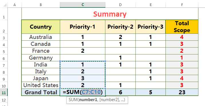 HOW TO EXCEL AUTOSUM HANDLING BLANK CELLS IN A RANGE_1