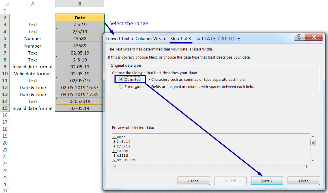 Change Excel Date Format_ Using the 'Convert Text to Columns' Wizard_1