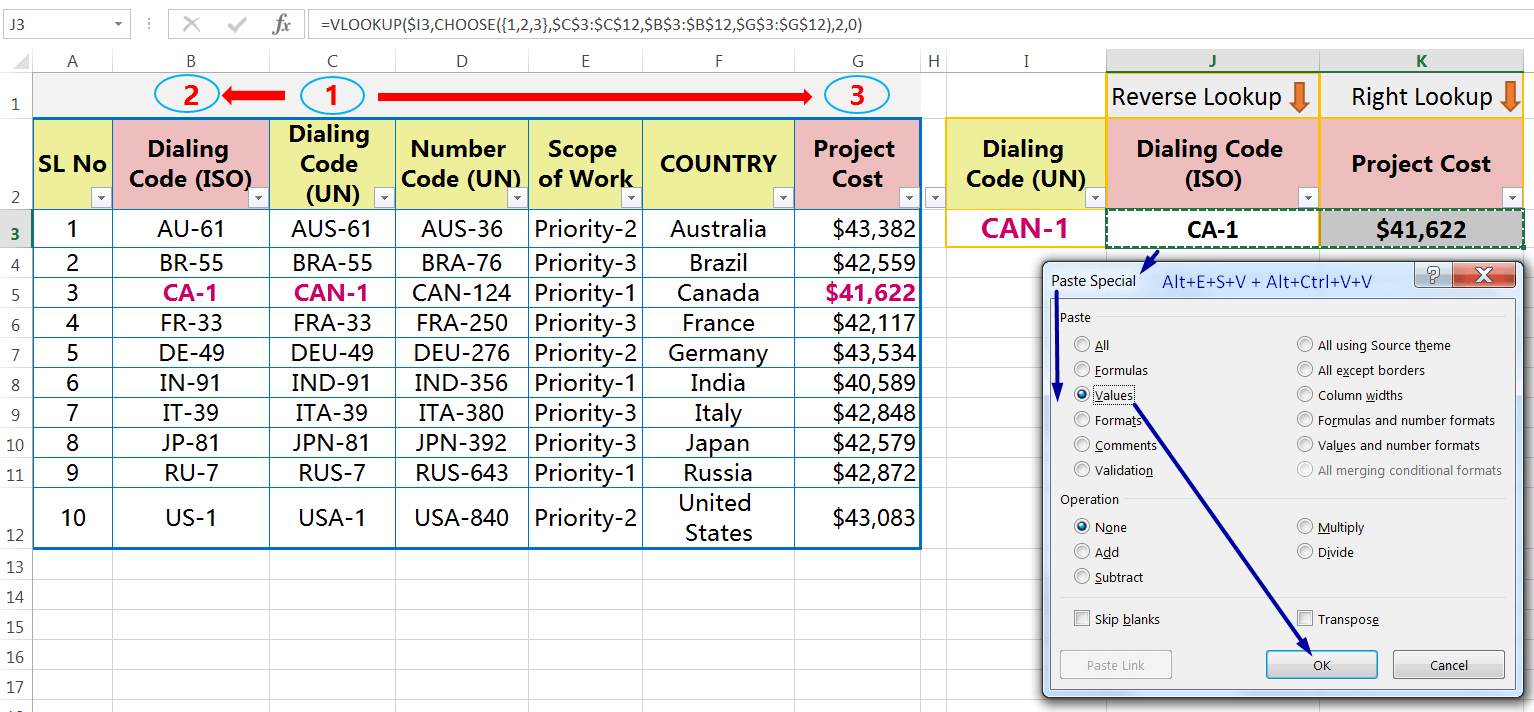 EXCEL REVERSE VLOOKUP WITHVLOOKUP & CHOOSE FUNCTION_Convert All the 'Formulas' into 'Values'_1