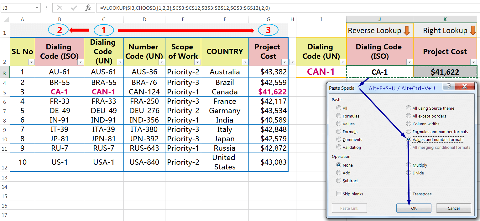 EXCEL REVERSE VLOOKUP WITHVLOOKUP & CHOOSE FUNCTION_Convert All the 'Formulas' into 'Values'_2