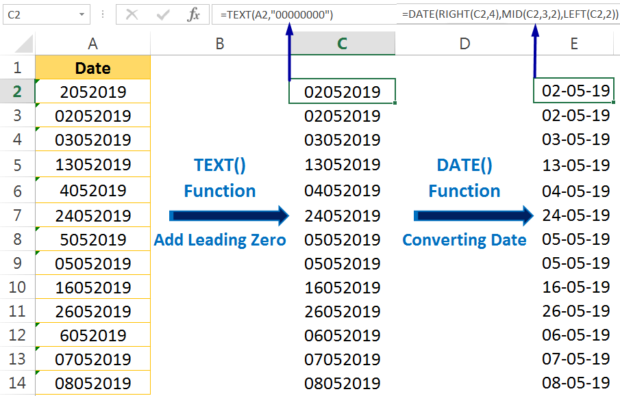 Excel Convert Text to Number Using the Excel DATE Formula
