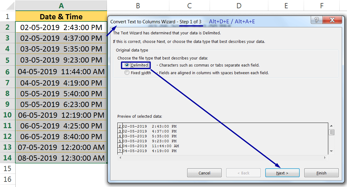 Excel Convert Text to Number Using the TEXT TO COLUMNS WIZARD_1