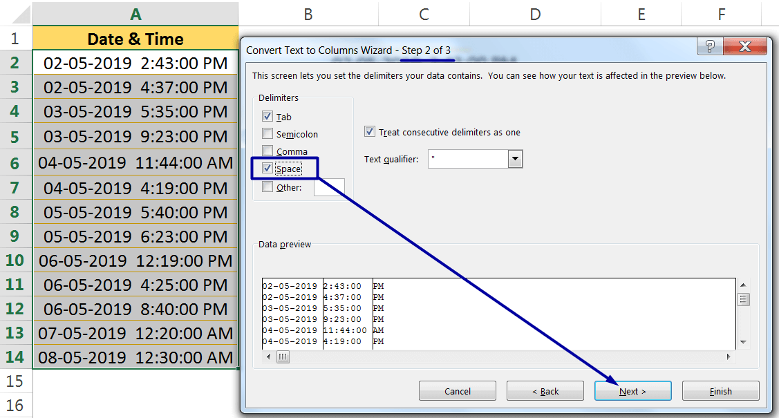 Excel Convert Text to Number Using the TEXT TO COLUMNS WIZARD_2