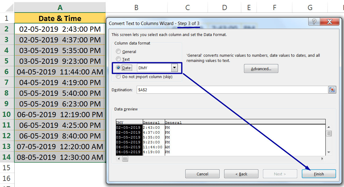 Excel Convert Text to Number Using the TEXT TO COLUMNS WIZARD_3