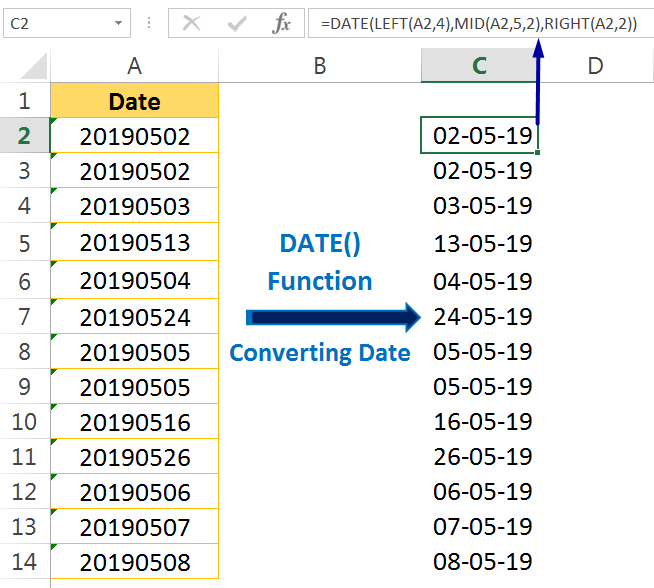 Excel Convert Text to Number_Using the Excel DATE Formula1
