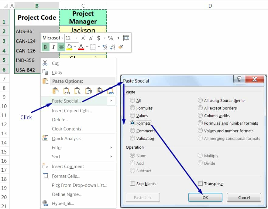 EXCEL COPY FORMATTING BY THE PASTE SPECIAL VIA MOUSE RIGHT-CLICK