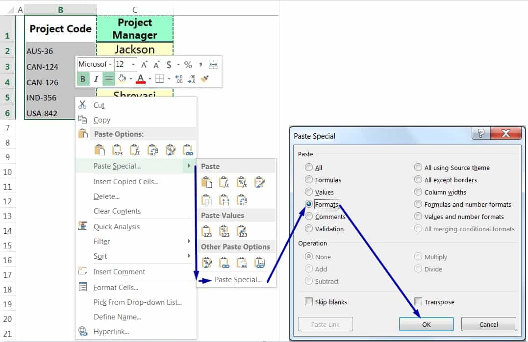 EXCEL COPY FORMATTING BY THE PASTE SPECIAL VIA MOUSE RIGHT-CLICK_2