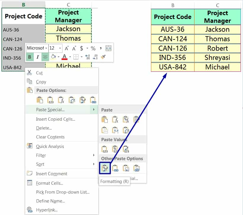 EXCEL COPY FORMATTING BY THE PASTE SPECIAL VIA MOUSE RIGHT-CLICK_3