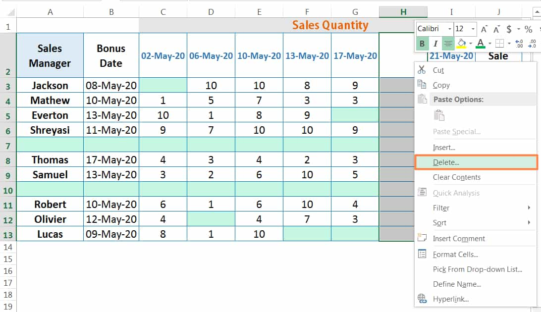 EXCEL DELETE CELLS BY USING THE MOUSE RIGHT-CLICK