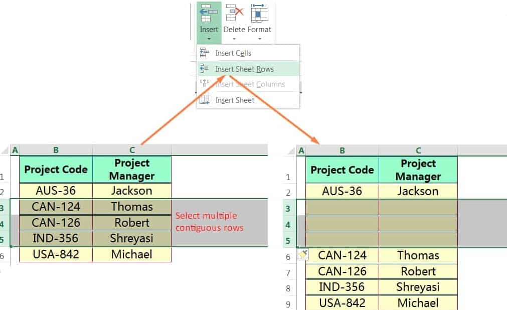 INSERT MULTIPLE ROWS IN EXCEL USING THE RIBBON_01