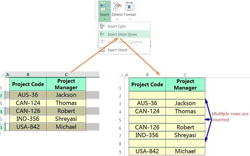 INSERT MULTIPLE ROWS IN EXCEL USING THE RIBBON_02